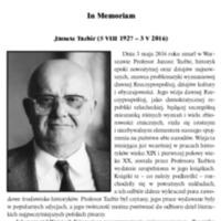 In Memoriam<br /> Janusz Tazbir (5 VIII 1927 – 3 V 2016)